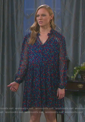 Abigail's blue sheer floral print dress on Days of Our Lives