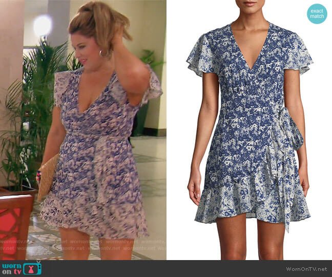 Floral-Print Ruffle Wrap Dress by BA&SH worn by Emily Simpson  on The Real Housewives of Orange County