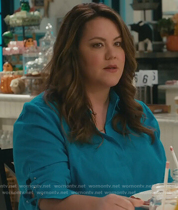 Katie's turquoise lace-up sleeve blouse on American Housewife