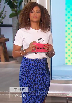 Eve's blue leopard print skirt and white tee on The Talk