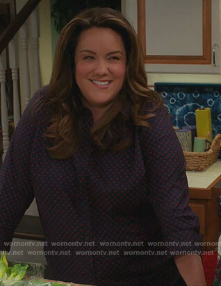 Katie's blue dot print blouse on American Housewife