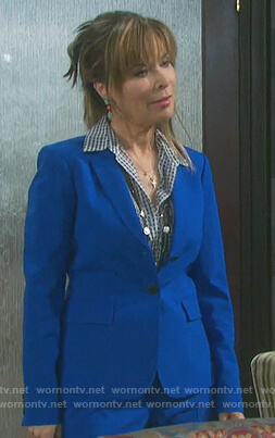 Kate's blue single breasted blazer and gingham blouse on Days of Our Lives