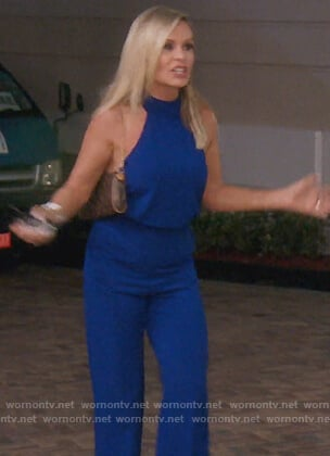 Tamra's blue halterneck jumpsuit on The Real Housewives of Orange County