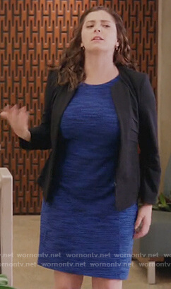 Rebecca's blue space dye dress on Crazy Ex Girlfriend