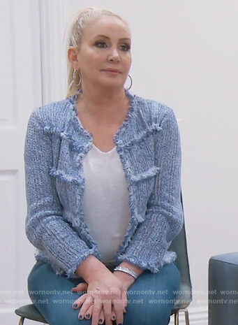 Shannon's blue tweed jacket on The Real Housewives of Orange County