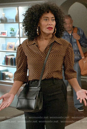Bo's brown printed blouse on Black-ish