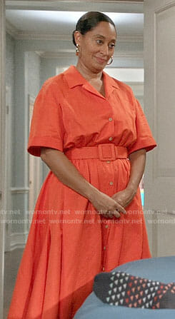 Bo's orange shirtdress on Black-ish