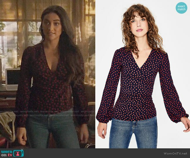 Boden Elodie Top worn by Peach Salinger (Shay Mitchell) on You
