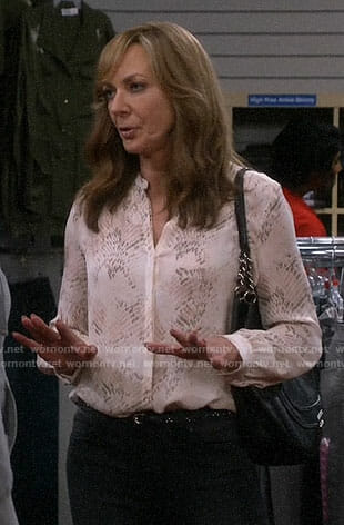 Bonnie's snake print blouse on Mom