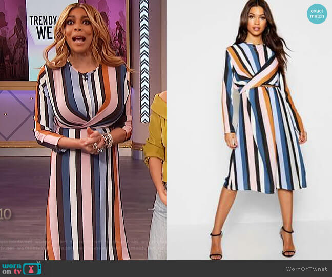 Stripe Wrap Woven Tie Waist Detail Dress by Boohoo worn by Wendy Williams  on The Wendy Williams Show