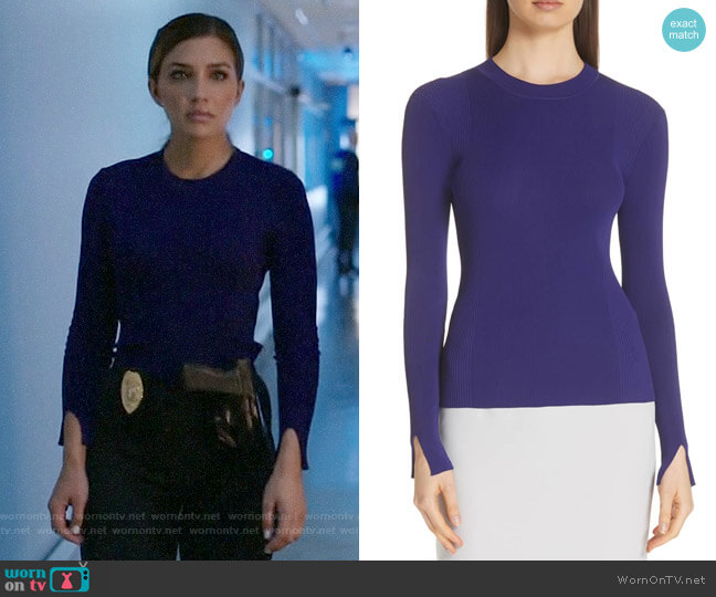 BOSS Feorgia Sweater worn by Dinah Drake (Juliana Harkavy) on Arrow