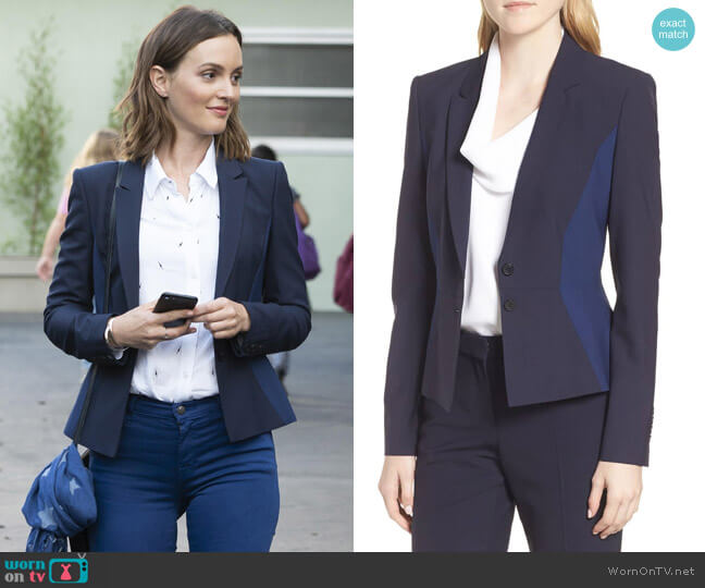 BOSS Jolia Patchwork Jacket worn by Angie (Leighton Meester) on Single Parents