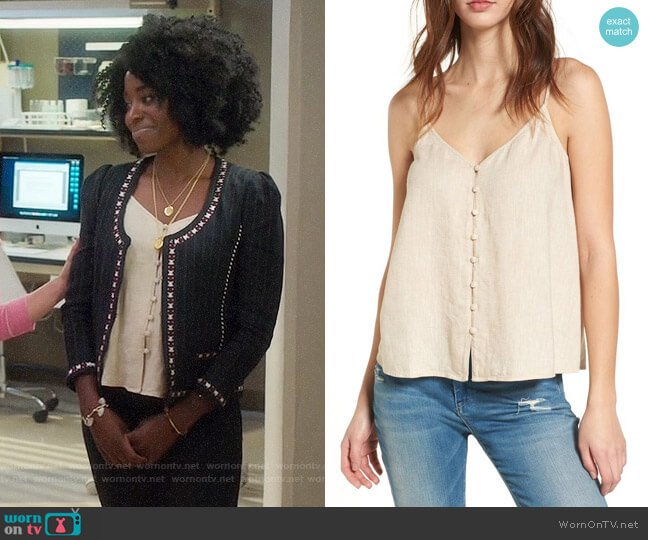 BP Button Front Camisole worn by Kirby Howell-Baptiste on The Good Place