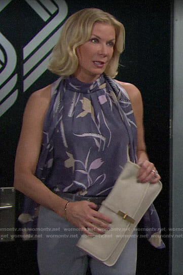 Brooke's blue floral tie-neck top on The Bold and the Beautiful