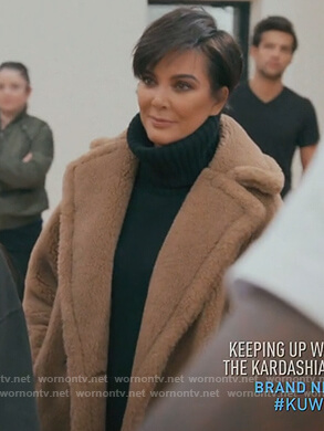 Kris's brown fur coat and turtleneck sweater on Keeping Up with the Kardashians