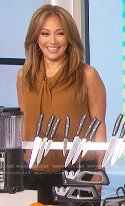 Carrie Inaba's brown tie neck top on The Talk