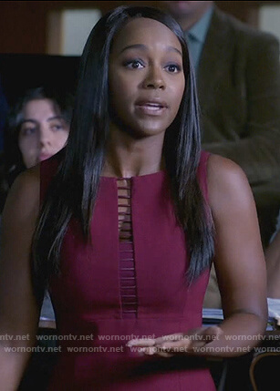 Michaela's red ladder trim sheath dress on How to Get Away with Murder