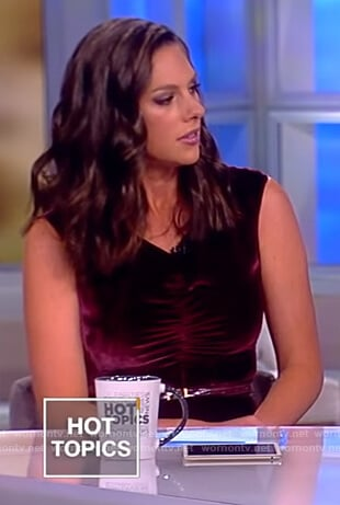 Abby's maroon velvet sleeveless jumpsuit on The View