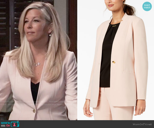 Calvin Klein One Button Blazer worn by Carly Corinthos (Laura Wright) on General Hospital
