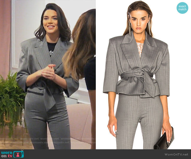 Belted Cropped Blazer by Carmen March worn by Kendall Jenner (Kendall Jenner) on Keeping Up with the Kardashians