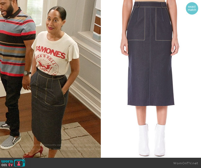 Carolina Herrera Pencil Midi Skirt with Pockets worn by Tracee Ellis Ross on Blackish