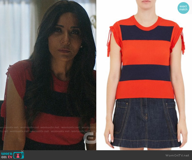 Carven Rugby Stripe Tee worn by Hermione Lodge (Marisol Nichols) on Riverdale
