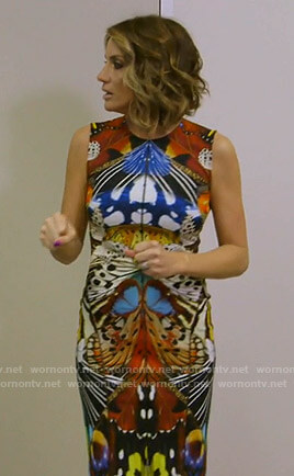 Cary's butterfly print sheath dress on The Real Housewives of Dallas