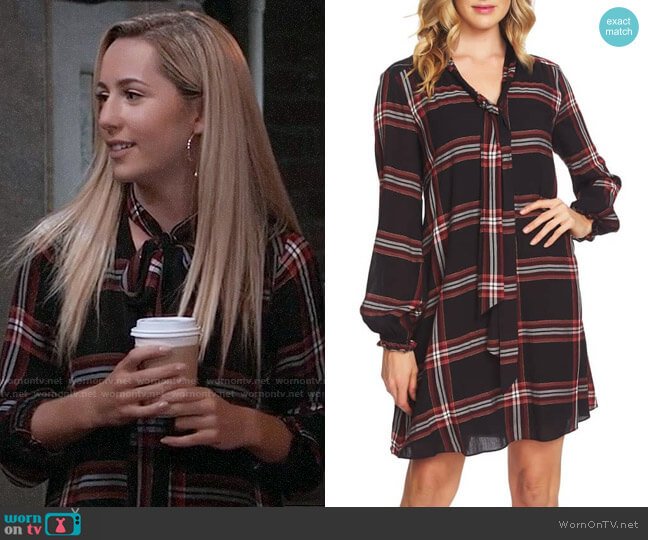 Cece Tie Neck Metallic Plaid Woven Dress worn by Josslyn Jacks (Eden McCoy) on General Hospital