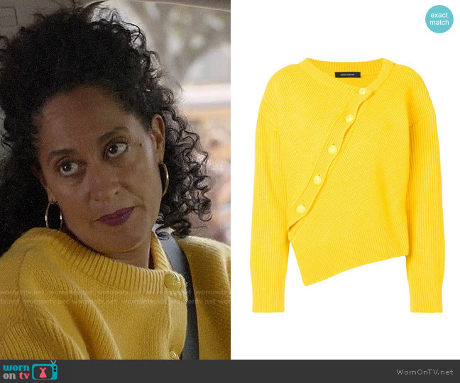 Cedric Charlier Asymmetric Knitted Jumper worn by Rainbow Johnson (Tracee Ellis Ross) on Blackish