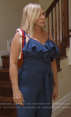 Vicki's chambray ruffle jumpsuit on The Real Housewives of Orange County