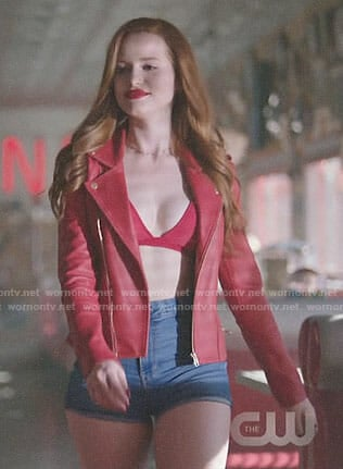 Cheryl's red leather jacket and denim shorts on Riverdale