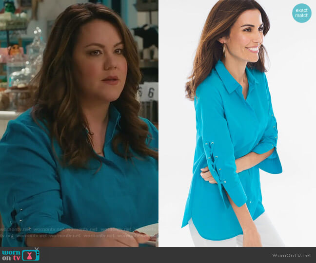 Lace-up Sleeve Shirt by Chicos worn by Katie Otto (Katy Mixon) on American Housewife