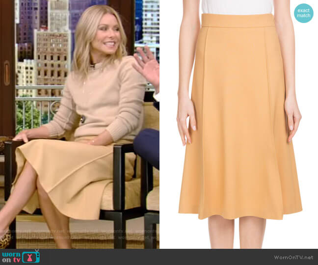 Mid-Calf A-Line Stretch-Wool Skirt by Chloe worn by Kelly Ripa on Live with Kelly & Ryan