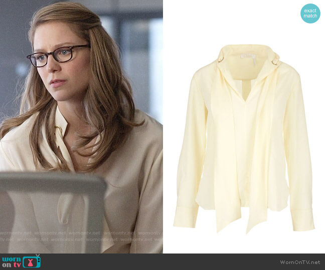 Chloe Grommet Collar Tie Neck Blouse worn by Kara Danvers (Melissa Benoist) on Supergirl