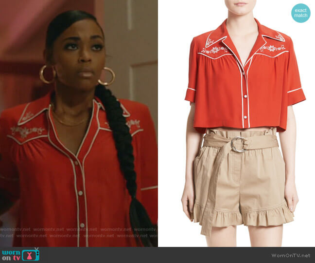 Sept Giselle Silk Crop Top by Cinq a Sept worn by Anissa Pierce (Nafessa Williams) on Black Lightning