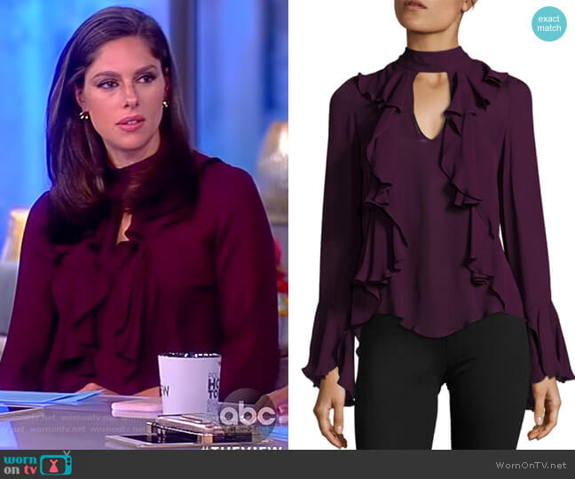 Sia Choker Ruffled Bell-Sleeve Silk Blouse by Cinq a Sept worn by Abby Huntsman  on The View