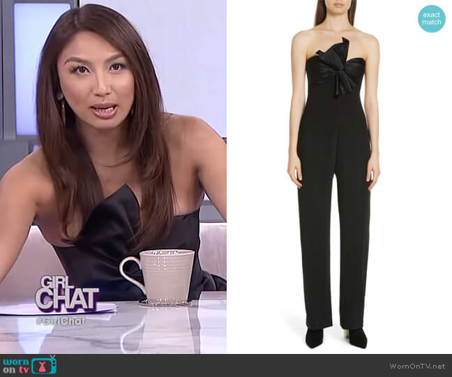 Trina Bow Strapless Jumpsuit by Cinq a Sept worn by Jeannie Mai on The Real