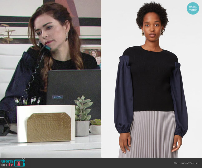 Club Monaco Tamea Sweater worn by Victoria Newman (Amelia Heinle) on The Young & the Restless