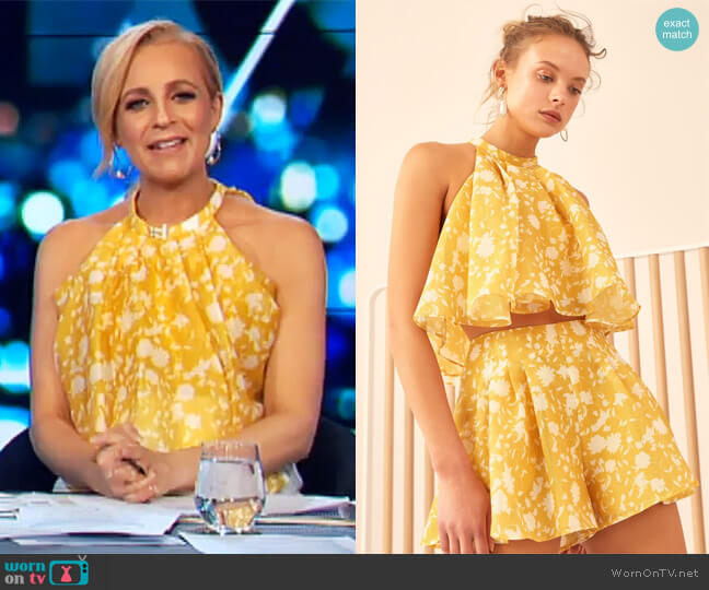 Love Hate Top by C/Meo Collective worn by Carrie Bickmore  on The Project