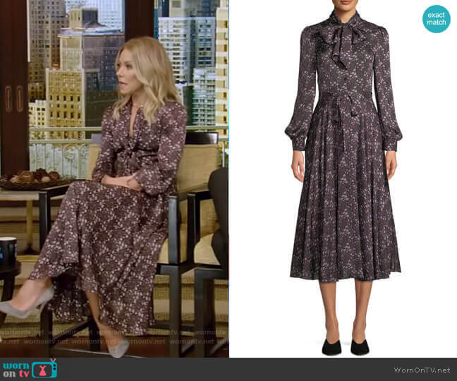 Tie-Collar Long-Sleeve Silk Midi Dress by Co worn by Kelly Ripa (Kelly Ripa) on Live with Kelly & Ryan