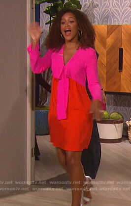 Eve's pink colorblock v-neck dress on The Talk