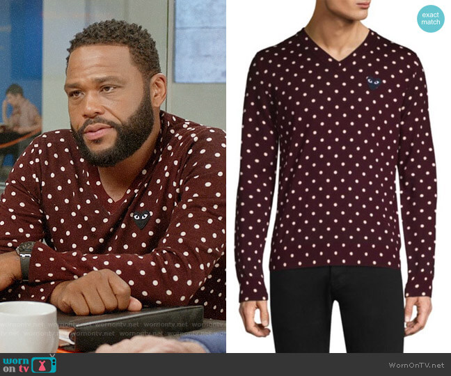 Comme Des Garcons PLAY Black Heart Wool Polka Dot Sweater worn by Anthony Anderson on Blackish