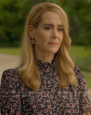 Cordelia's floral ruffle neck top on American Horror Story Apocalypse