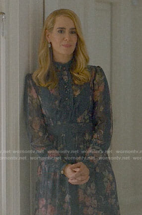 Cordelia's floral long sleeved dress on American Horror Story