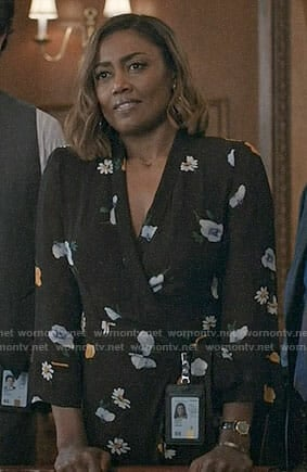 Daisy's black floral wrap dress on Madam Secretary
