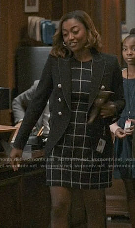 Daisy's checked dress and blazer with silver buttons on Madam Secretary