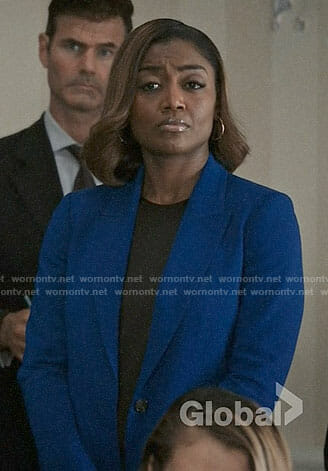 Daisy's cobalt blazer on Madam Secretary