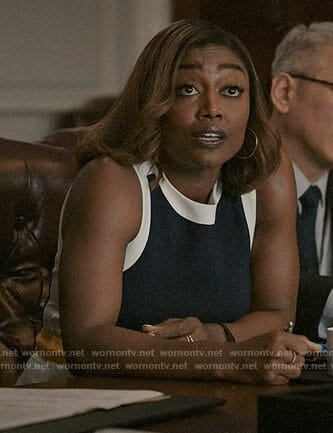 Daisy's colorblock dress on Madam Secretary