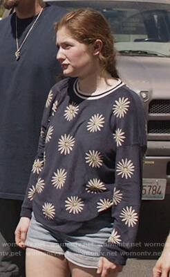 Debbie's navy floral sweatshirt on Shameless