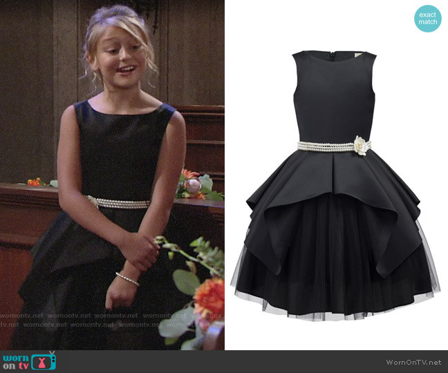 David Charles Satin & Tulle Sleeveless Dress w/ Pearly Belt worn by Faith Newman (Alyvia Alyn Lind) on The Young & the Restless